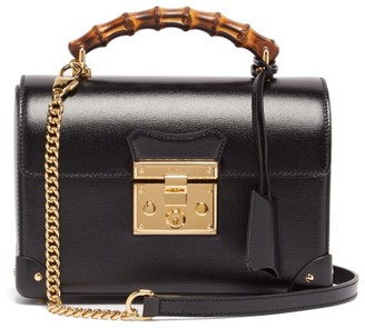 Gucci Padlock Bamboo-handle Leather Handbag - Womens - Black