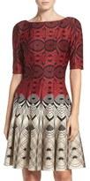 Gabby Skye Geometric Scuba Fit & Flare Dress
