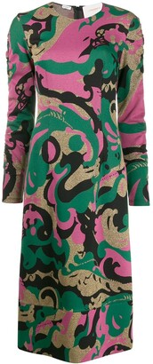 La DoubleJ Tinder abstract print midi dress