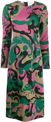 La DoubleJ Tinder abstract print midi dress