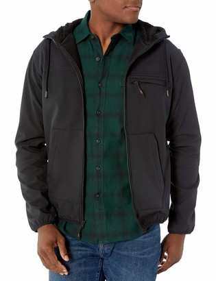 Hawke & Co Men's Big and Tall Full Zip Fleece Tech Soft Shell w/Sherpa Lined Hood