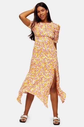 Topshop Orange Ditsy Ruched Sleeve Midi Dress