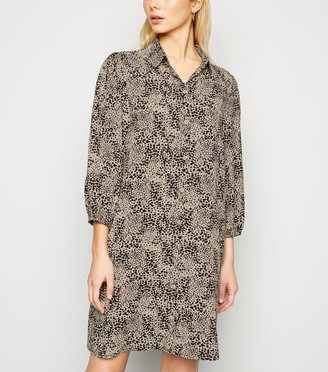 New Look Animal Print Puff Sleeve Shirt Dress