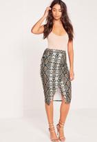 Missguided Snake Print Side Tie Wrap Midi Skirt Brown