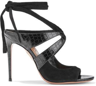 Aquazzura Mabel 105 Croc-effect Patent-leather And Suede Sandals