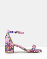 betts Santa Monica Floral Embroidered Block Heel Sandals