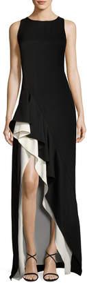 Halston Sleeveless Boat-Neck Colorblocked Asymmetric Flounce-Skirt Gown
