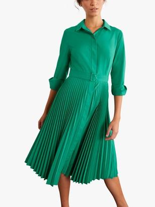 Boden Alma Pleated Shirt Dress, Wild Meadow Green