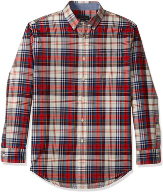 Pendleton Men's Short Sleeve Woven Button Front Madras Shirt