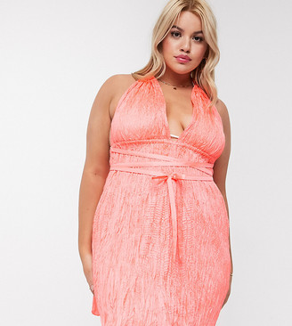 ASOS DESIGN curve beach sundress with shirred waist in neon coral
