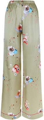 MENG Gold Floral Silk Satin Trousers