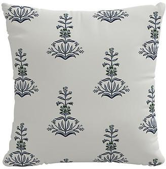 One Kings Lane Kiko Block Print Pillow - Blue/Green