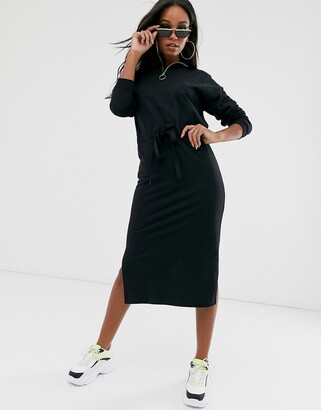 Asos DESIGN midi sweat dress with drawstring waist channel