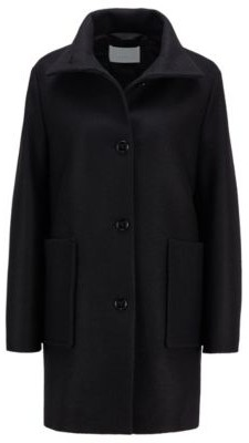 HUGO BOSS Relaxed-fit coat in boiled wool with patch pockets