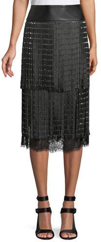Alice + Olivia Senna Studded Leather Fringe Midi Skirt