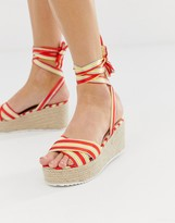 Glamorous red striped tie up espadrille wedge sandals