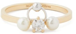 Delfina Delettrez Two In One Diamond, Pearl & 18kt Gold Ring - Womens - Pearl