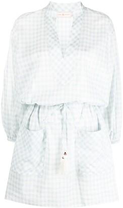 Tory Burch Gingham-Check Shirt Dress