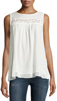 Max Studio Sleeveless Shadow Lace Tank, Off White