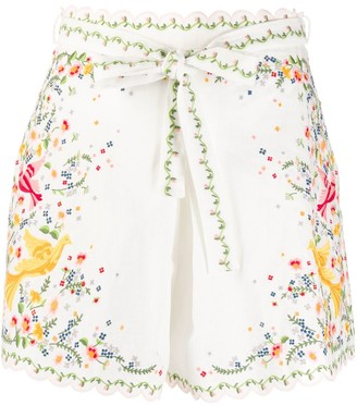 Zimmermann Embroidered High-Waisted Shorts