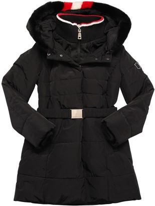 MonnaLisa Nylon Puffer Coat W/ Faux Fur Hood