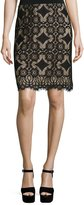 Max Studio Lace-Overlay Pencil Skirt, Black