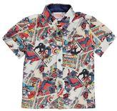 Character Kids Shirt Infant Boys Print Button Front Short Sleeve Collar Neck Top