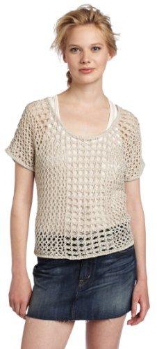 Kensie Women's Crochet Lurex Knit Sweater
