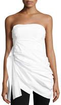 Rosie Assoulin Strapless Cotton Bustier Top, White
