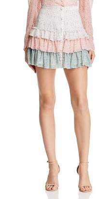 Divine Heritage Tiered Color-Block Mini Skirt