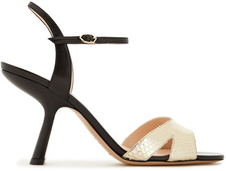 Nicholas Kirkwood Smooth And Metallic Snake-effect Leather Slingback Sandals