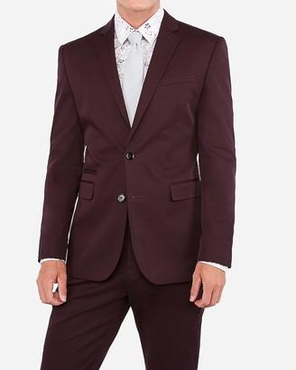Express Slim Merlot Cotton Sateen Stretch Suit Jacket