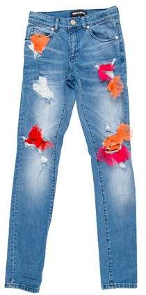 House of Holland Tulle-Accented Mid-Rise Jeans