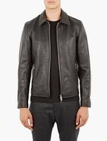 Officine Generale Black Leather Laurent Jacket