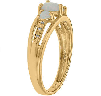 FINE JEWELRY Lab-Created Opal and Diamond-Accent 3-Stone Heart Ring