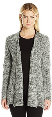 Heather B Women's Marled Swing Cardigan with Zipper Sleeves
