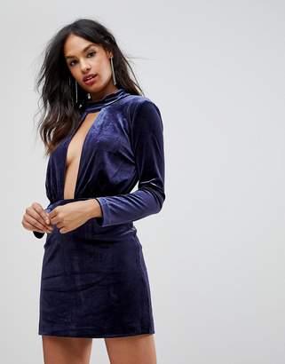 Isla Doubt Me Deep V-Neck Party Dress-Navy