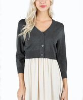 Charcoal Three-Quarter Sleeve Bolero Cardigan - Plus