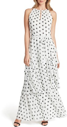 Tahari Sleeveless Polka Dot Tiered Maxi Dress