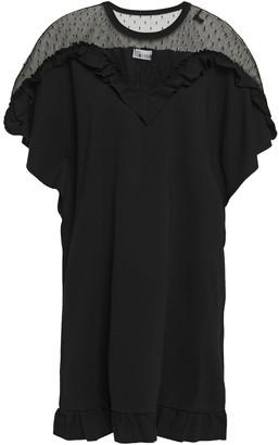 RED Valentino Point D'esprit-paneled Ruffled Stretch-jersey Mini Dress