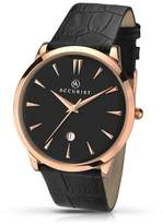 Accurist Black Leather Strap Black Dial Watch 7029.01