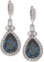 Givenchy Silver-Tone Dark Blue Crystal and Pavé Teardrop Drop Earrings