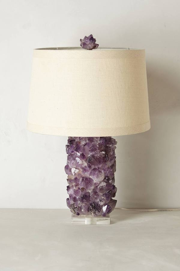 Anthropologie Amethyst Crystal Lamp Base