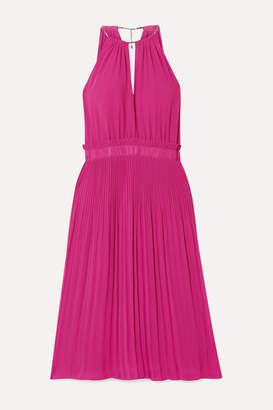 MICHAEL Michael Kors Hayden Chain-embellished Pleated Georgette Dress - Plum
