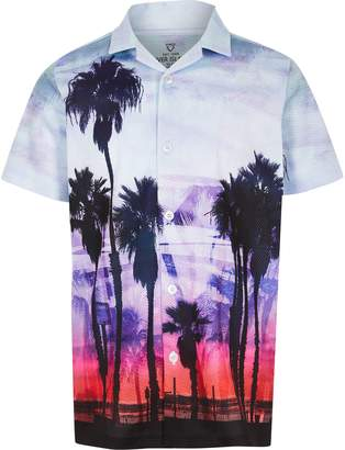 River Island Boys Blue palm print mesh shirt