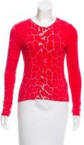 Blumarine Animal Print Crew Neck Cardigan