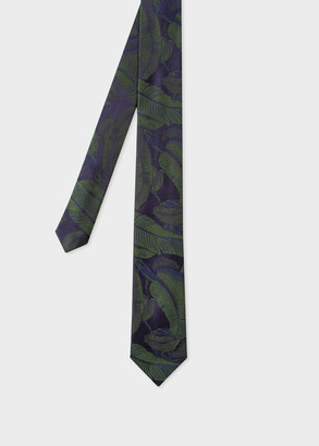 Men's Green And Blue 'Tonal Leaf' Silk Tie