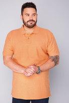 Yours Clothing BadRhino Short Sleeve Orange Marl Vintage Washed Polo
