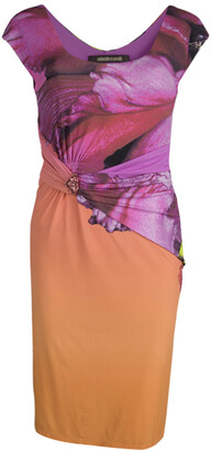 Roberto Cavalli Multicolor Printed Draped Dress S