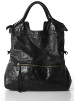 Foley + Corinna Gray Black Leather Distressed Large Hobo Handbag